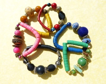 African bracelets, stacking  bracelets, new design, summer bracelets, stretch bracelets - COOL