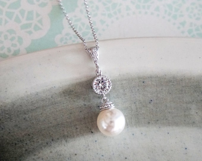 kylee - Simple Pearl Drop Necklace, Swarovski pearl, Cubic Zirconia Bridal, Bridesmaids, jewelry, fairy tale, wedding,