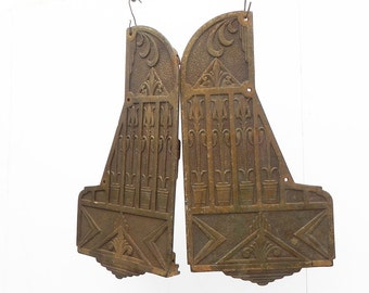 Pair of Vintage Cast Iron Side Panels Salvaged from Art Deco Antique Markel Heater Modern Repurpose