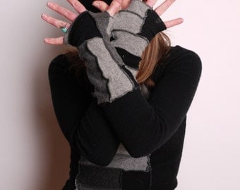Fingerless gloves- black and gray- 100 percent cashmere- recycled sweater- upcycled cashmere- unisex- arm warmers- wristwarmers- guantlets-