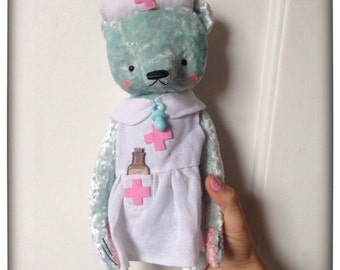 12 inch Artist Handmade Mint Plush Teddy Bear Nurse Sofia by Sasha Pokrass