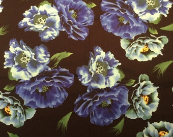 Blue Flowers on Black Backgroun Floral Fabric by the Yard