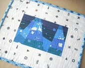 alison glass indigo + abacus mini quilt snack mat - FREE SHIPPING