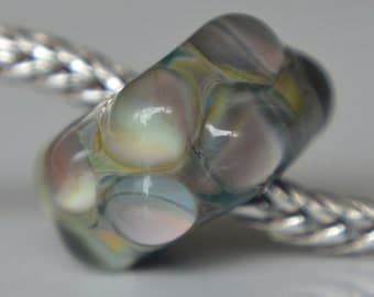 Solid Core Option - OOAK Handmade Lampwork European Charm Bead with Silver Glass - Fits all charm bracelets