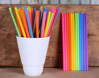 "Girls Rainbow Lollipop Sticks, Small Rainbow Cake Pop Sticks, Lolly Sticks, Plastic Lollipop Sticks, Colored Lollipop Sticks (4.5"" - 50ct)"