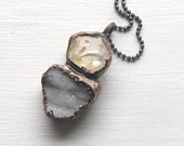 Druzy Citrine Pendant Geode Crystal Copper Gemstone Statement Rough Stone Jewelry Ice Pendant Crystal Necklace