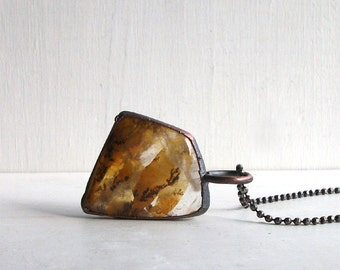 Quartz Necklace Raw Stone Copper Jewelry Crystal Gemstone Agate Stone Pendant Artisan Handmade
