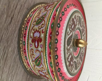 Vintage Decorative Tin made in Western Germany - Floral, Pink, Green