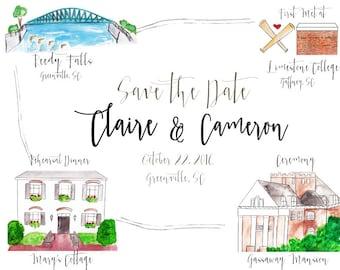 Custom Watercolor Print Save The Dates