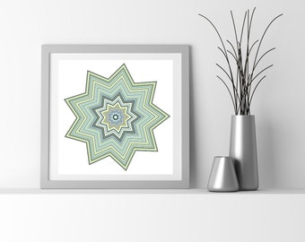 Blue and Taupe Abstract Art Particle Star, chemistry inspired by San Francisco artist Kristin Henry. hippie boho chic decor  flower_9ay