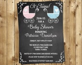 Chalkboard, Baby Shower Invitations, Twins, Vintage, Carriage, Blue, 10 Printed Invites, Chalk board, Customized, FREE Shipping, Blackboard