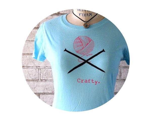 Crafty Ladies Tshirt with ball of yarn and knitting needles, Womens cotton tee shirt in Powder Blue Light Aqua, Hand Printed Clothing