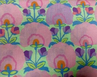 Kaffe Fassett Fan Flower, pastel, OOP, rare, vhtf, half yard, early Westminster, floral fabric, pink lilac