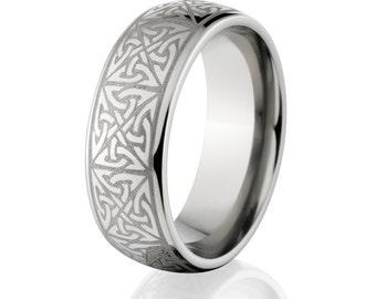 Custom Lasered Celtic Ring Made In Titanium: 8HR-C9L