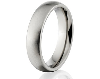 New 6mm Comfort Fit, Custom Titanium Ring USA Made Titanium Wedding Band : 6HR-B