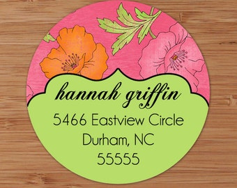 Shabby Hibiscus - Custom Personalized Address Labels or Stickers