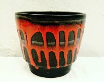 Roth Keramik 1960s Red and Black Fat Lava Planter