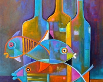 Cubist Abstract  painting Original Oil artwork Fish and Wine by Marlina Vera Fine Art Gallery  sale Modern still life bottles Fauvism