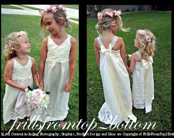 Ivory Lace Bohemian Flower Girl Dress . Floor Length Lace Satin Lined . Ready to ship