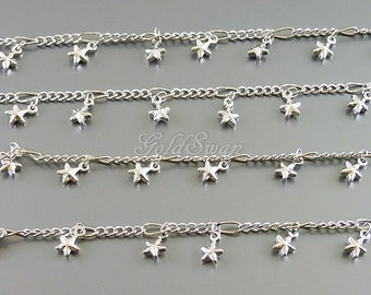 1 FOOT / unique chain with tiny star charms, star charm bracelet / necklace, star station necklace B144-BR (1 FT)