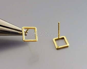 4 tiny 7mm open square studs in shiny gold finish, minimal square earrings, geometric minimalist jewelry 1266-BG-7