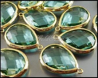 2 pcs- transparent light green / prasiolite green 20mm x 16mm faceted glass crystal teardrop pendant 5137G-PR