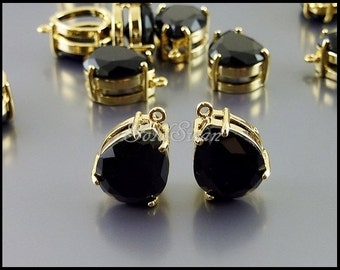 2 pcs black faceted teardrop glass stone in gold setting, black jewelry stone 5067G-BL