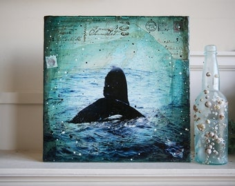 "Night Dive No. 2 - 12"" x 12"" original nautical whale mixed media painting on canvas"