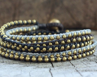 Dark Tone Brass Hip Double Wrap Bracelet