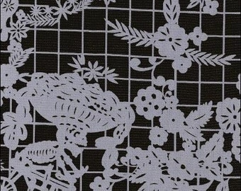 White and Black Day Of The Dead Oilcloth By The Yard