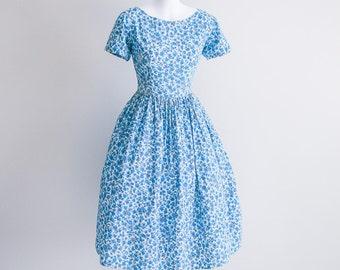 Blue Floral Day Dress - Sz S