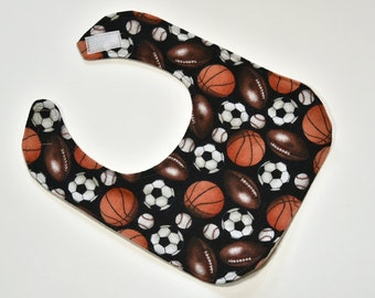 Baby Drool Bib Baby Boy Bib Sports Baby Bibs Reversible Feeding Bib or Dribble bib, Flannel Backing, Shower Gift, Infant Bib