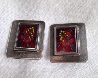 Laurel Burch Framed Hibiscus Flower Clip Earrings