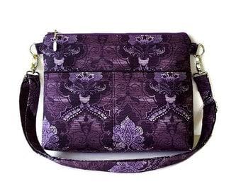 Purple Medium Zippered Crossbody Bag - Purple Messenger Purse - Fabric Cross Body Purse - Outside Pockets - Zipper Closure Shoulder Handbag