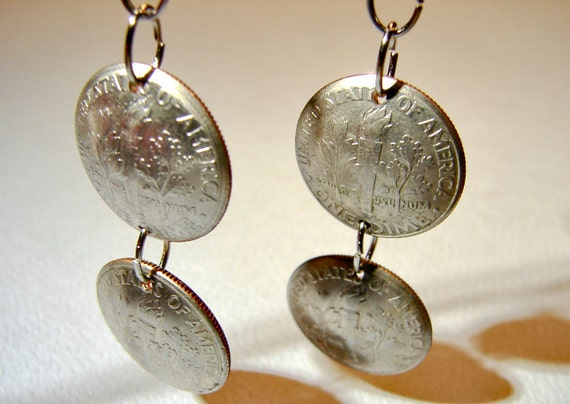 Dime Earrings with Two Dimes per Dangle Earring for a Statement that's totally Money - ER832