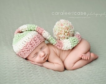 New Item! Elf Hat in Pink, Cream, and Pastel Green