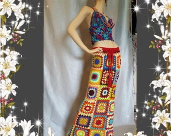 Womens Crochet Granny Square Hippie Gypsy Skirt