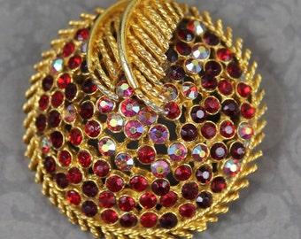 Coro Ruby Red Rhinstone Golden Filigree Round Brooch
