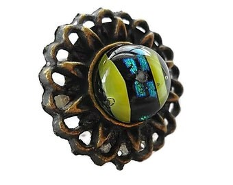 Dichroic Glass Ring/ Fused Glass Ring/Adjustable Vintage Brass Band/ Yellow and Teal