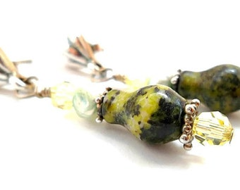 Gemstone Earrings/Yellow Turquoise Earrings/Sterling Silver/Fresh Water Pearl/Swarovski Crystal