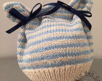 Bonnet spring cotton, striped blue and white baby (0/3 months)