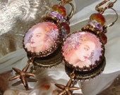 Coral mermaid cabochon image bead charm Picasso earrings Pamelia Designs Sacred Jewelry