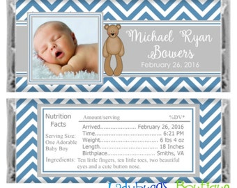Blue and White Chevron Baby Boy Photo Birth Announcement Candy Bar Wrapper Shower Birthday Favor