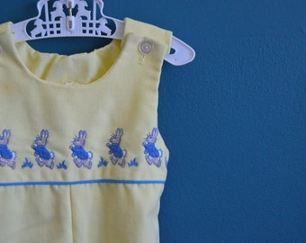 Vintage 1970s Baby's Yellow Jumpsuit with Peter Rabbit Embroidery - Size 3 Months