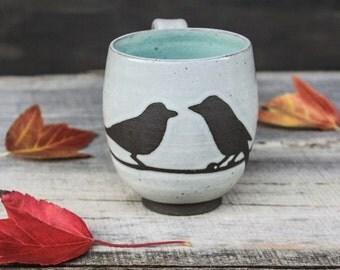 Ready to Ship: Handmade Mug, 2 Birds, Antique White Glaze