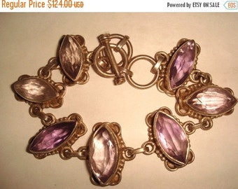 Fall into Vintage SALE Beautiful Open Back Marquise Amethyst Sterling Silver Vintage Toggle Bracelet Vintage Jewelry