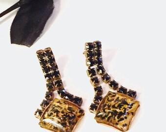 Scorpio Birthday SALE Art Deco Czech Yellow Art glass Black and Gold Rhinestone Vintage Earrings Art Deco Jewelry