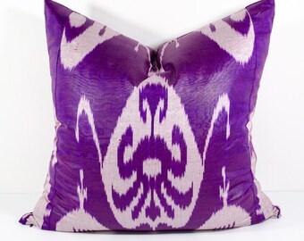 18x18 ikat pillow cover, purple, pillow cover, cushion case, pillowcase, ikat, cushion cover, throw pillow, accent pillow, SilkWay, pillow
