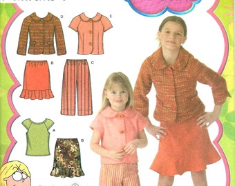 GIRLS top, skirt, cropped pants and jacket by Simplicity #4104 (Lizzie McGuire) , Sizes 3-6 Uncut