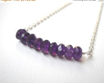 Amethyst Bar Necklace - Sterling Silver Beaded Row Necklace Faceted Deep Purple Amethyst Beadwork Necklace